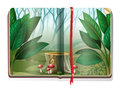 Book with forest scene
