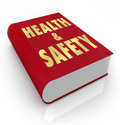 Book of health and safety rules regulations a red with the words giving guidance instructions direction tips on how to stay Stock Image