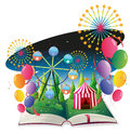 A book with an image of a carnival with balloons illustration on white background Royalty Free Stock Image