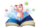 A book with an image of a pig dancing illustration on white background Stock Images