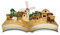 A book with an image of a village and wooden arrowboards illustration on white background Stock Image