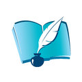 Book and ink feather icon education concept Stock Photography