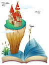 A book with an island with a castle illustration of on white background Stock Images