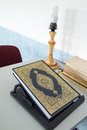Book koran in mosque with light Stock Photo