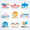 Book logo - bird and sun and lotus mix concept vector illustration set design Royalty Free Stock Photo