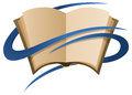 Book logo a of a with blue ribbons Stock Photo