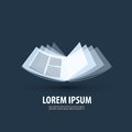Book logo icon sign emblem template open on a dark background vector illustration Royalty Free Stock Photography