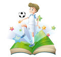 A book with a male football player illustration of on white background Royalty Free Stock Photography