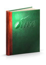 Book of olive clipping path hardcover leather with Stock Photo