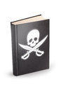 Book of pirated clipping path cyber law concept covered with pirates flag on a white background Royalty Free Stock Image