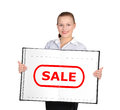 Book with sale girl holding in hand Stock Photos