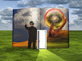 Book with science fiction scene and open door Royalty Free Stock Photo