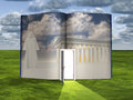 Book with science fiction scene and open doorway of light Royalty Free Stock Images