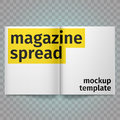 Book Spread With Blank White Pages. Vector blank magazine spread. Isolated white paper. A4 brochure open.