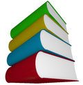 Book Stack Four Textbooks Pile Blank Titles Royalty Free Stock Photo