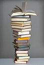 Book stack with open book Royalty Free Stock Photo