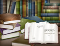 Book stacks on table new and open desk vector illustration Royalty Free Stock Photo