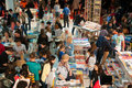 Book stands and crowd lots of buyers between them during gaudeamus fair in bucharest romania november Royalty Free Stock Photography