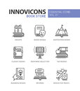 Book store - modern color vector single line icons set