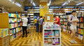 Book store people books and bookshelves in in guangzhou city china Stock Images