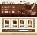 Book store template for website vintage style Stock Photos