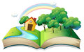 A book with a story of a house at the forest Royalty Free Stock Photo