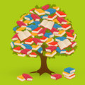 Book tree knowledge on green background Stock Photography