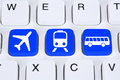 Book a trip travel online on internet with bus, airplane or trai Royalty Free Stock Photo