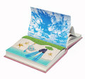 Book with a tropical beach open inside d concept Royalty Free Stock Photography