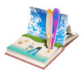 Book with a tropical beach open inside d concept Royalty Free Stock Photos