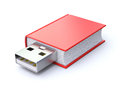 Book with usb plug red d illustration Stock Photos