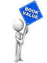Book value sign held up by a little d man on white background concept of accounting term of shares stocks or assets Stock Photography
