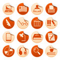 Book writing and reading stickers set of Stock Images
