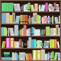 Bookcase with colorful books in library bookstore or home literature design Royalty Free Stock Photos