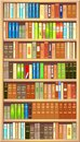 Bookcase full of different colorful books Royalty Free Stock Photography