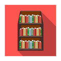 Bookcase icon in flat style isolated on white background. Library and bookstore symbol stock vector illustration. Royalty Free Stock Photo