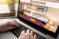 Booking hotel travel traveler search business reservation Royalty Free Stock Photo