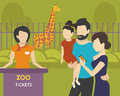 Booking tickets to zoo family with children is going the using an e ticket in mobile app Stock Image