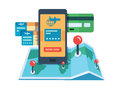 Booking travel online concept