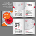 A booklet layout design template with cover and spreads of contents preview for magazine book annual report Stock Images