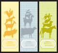 Bookmarks pet animal silhouettes set Royalty Free Stock Photos