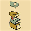 Books abstract cartoon and an abstract heart representing love for Stock Photography