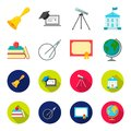 Books, an apple, a compass with a circle, a diploma with a seal, a globe. School set collection icons in cartoon,flat Royalty Free Stock Photo