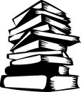 Books black and white illustration of the stacked Stock Images