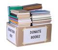 Books donation box isolated on white background Stock Photography