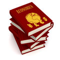 Books of economics conceptual three dimensional render for Stock Photos