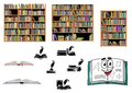 Books education and library objects literature with bookcases black silhouettes of with inkwells quills open Stock Image