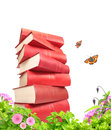 Books flowers and butterflys isolated over white Royalty Free Stock Photo