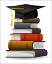 Books with the graduation cap six and as symbol of editable vector illustration Royalty Free Stock Images