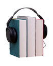 Books with headphones Royalty Free Stock Photos